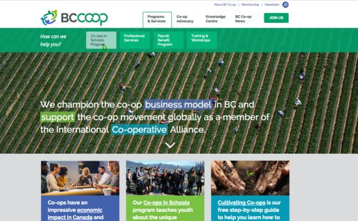 Bc Coop Association Home page showing main nav rollover