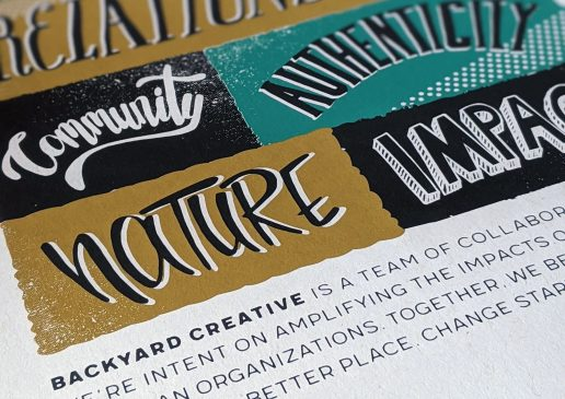 Close up of Backyard Creative Manifesto poster, silkscreened with words community, authenticity, nature and impact showing.