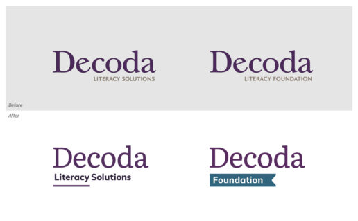Decoda logo and Decoda Foundation logos before and after