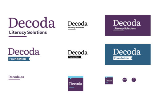 All variations of Decoda logo shown in icon and full-logo format