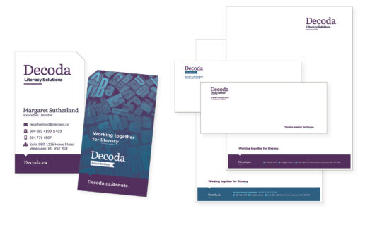 Decoda stationery set including business card and letterheads