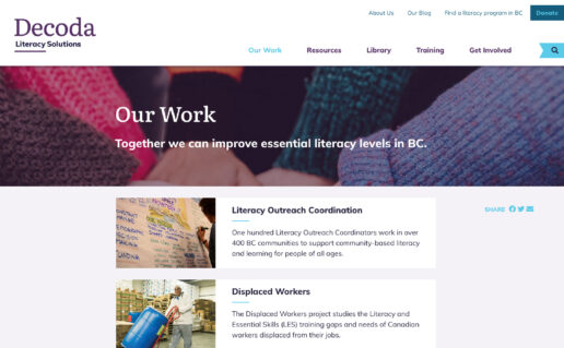 Decoda website 'Our Work' landing page