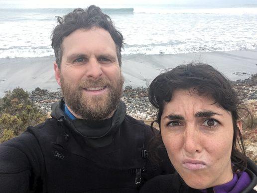 Sarita and Dan surfing