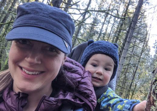 Lisa hiking with son Ewan on back