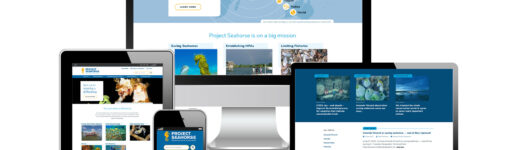 Screenshots of Project Seahorse's new website on desktop, laptop and mobile devices