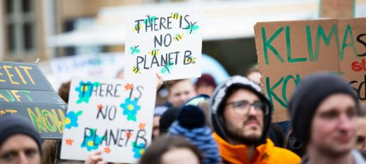 """Photo by Markus Spiske on Unsplash showing environmental rally with signs """"there's no planet B"""""""