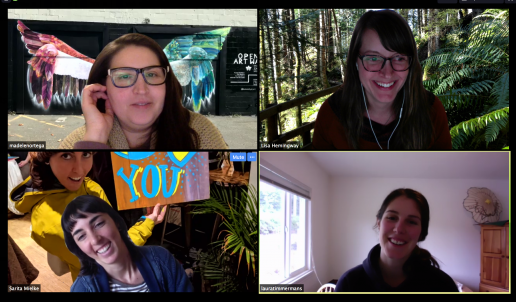 Members of Backyard Creative on a Zoom conference call